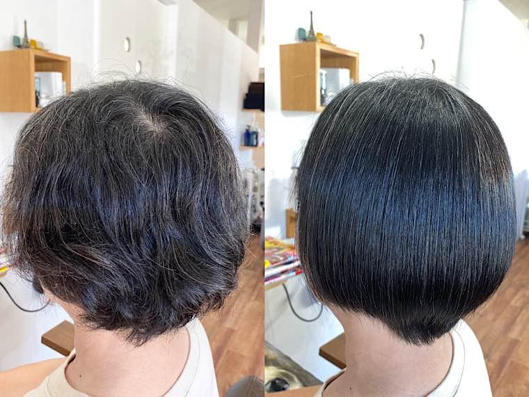 縮毛矯正ビフォーアフター(左サイド)